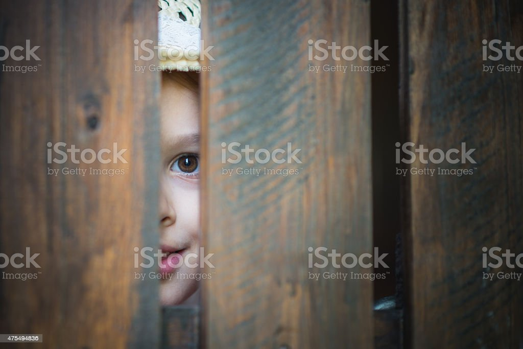 little girl looking through a wooden fence stock photo