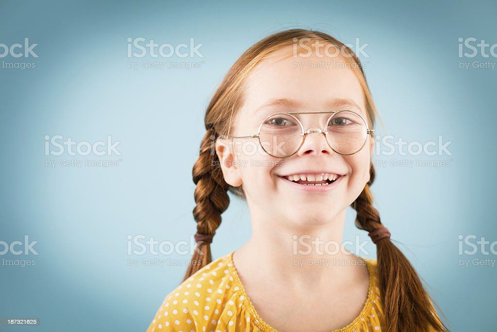 Little Girl Looking Through Vintage Nerdy Glasses royalty-free stock photo
