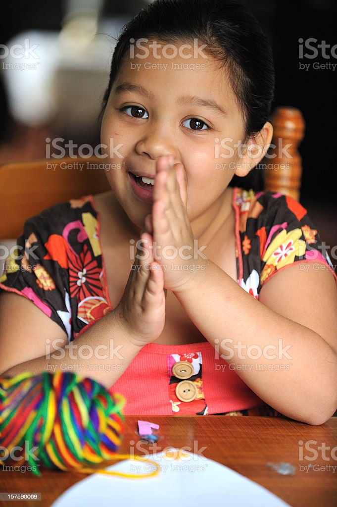 Little girl making art royalty-free stock photo
