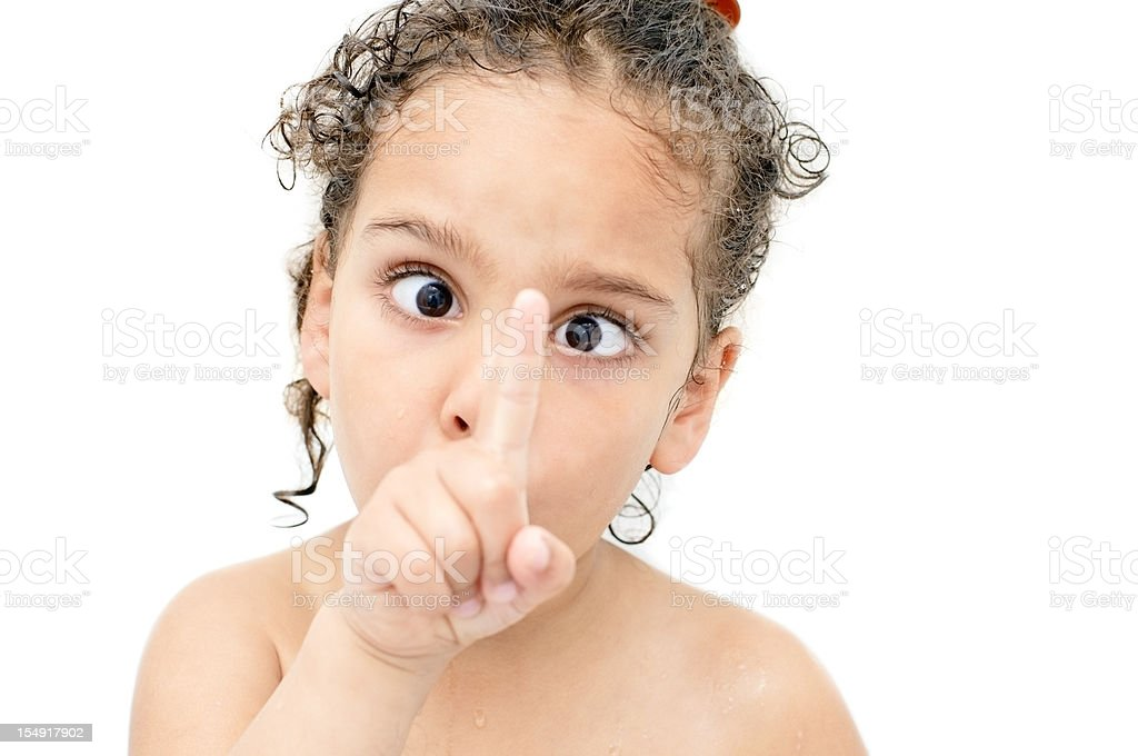 Little Girl Making Funny Face stock photo