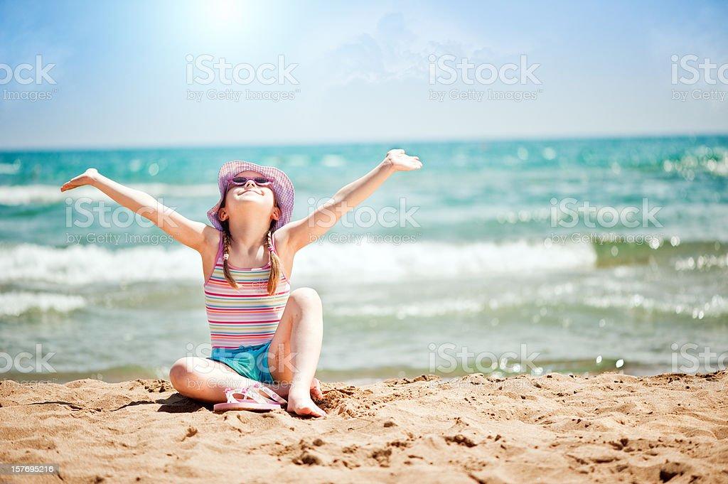 Little girl near the sea royalty-free stock photo