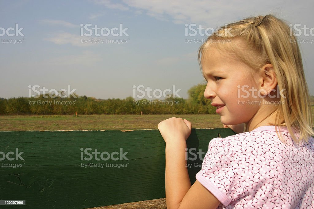 Little girl on a hayride royalty-free stock photo