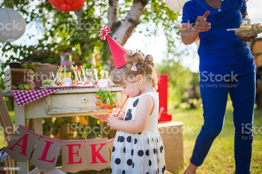 Little girl on a party stock photo