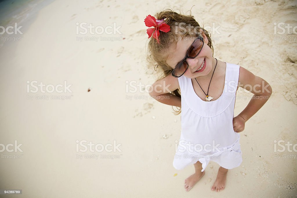 Little girl on beach royalty-free stock photo