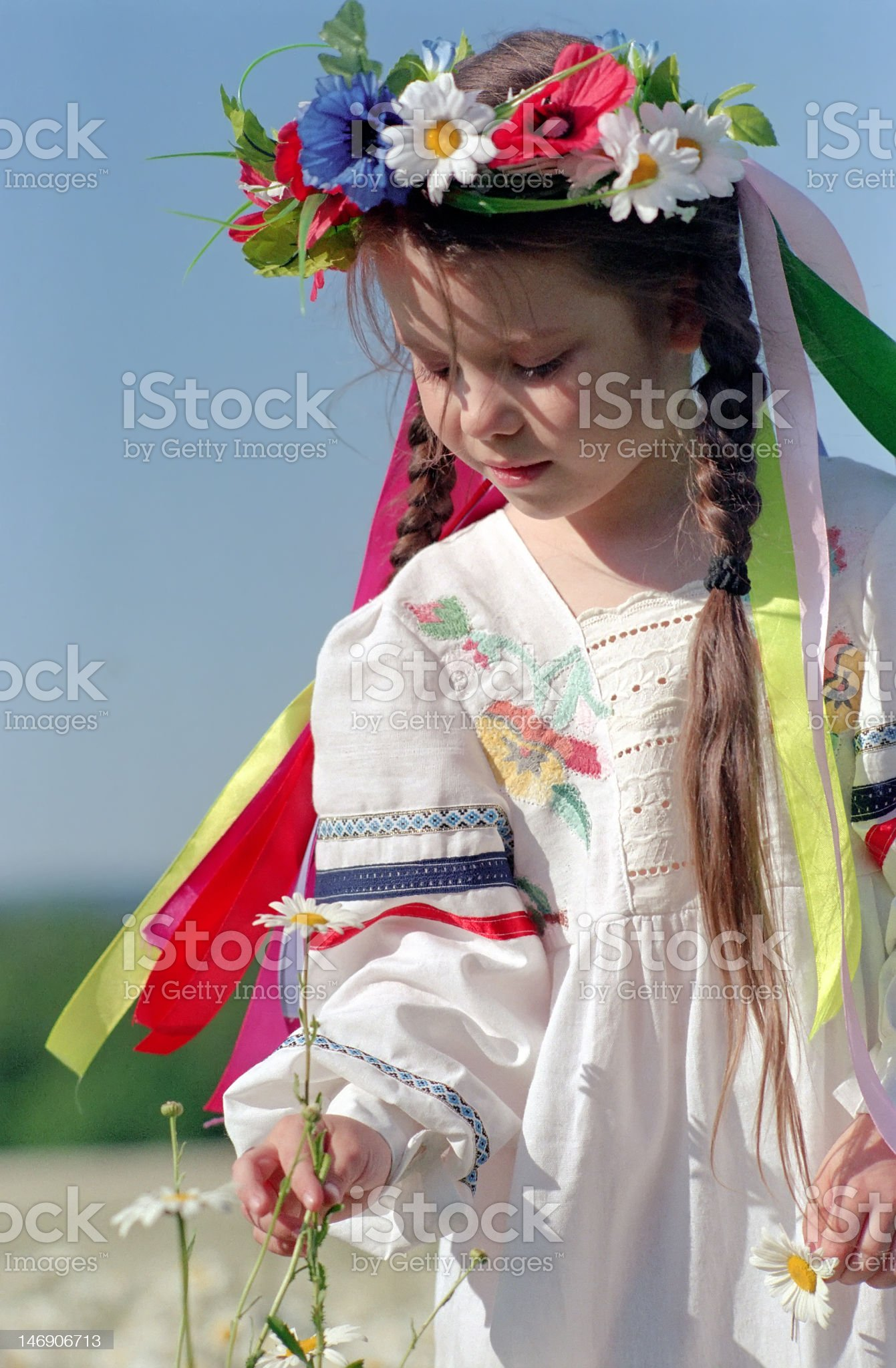 little girl on chamomile field royalty-free stock photo