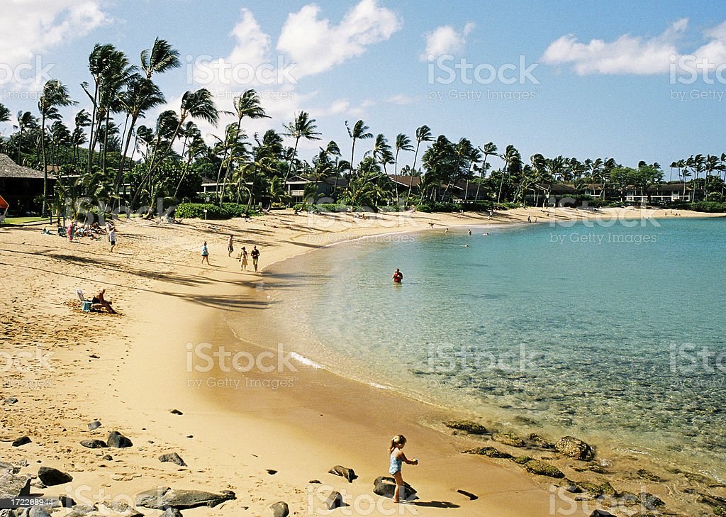 Little girl on Hawaii beach royalty-free stock photo