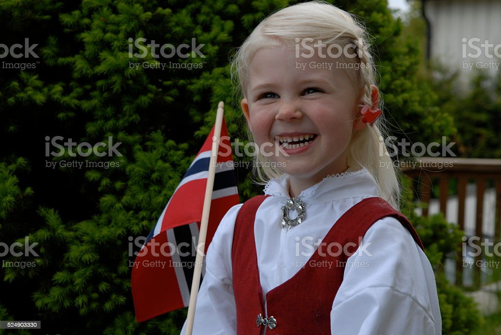 Little girl on Norwegian constitution day stock photo