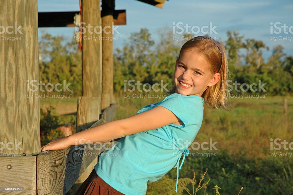 Little Girl on Rustic Farm royalty-free stock photo