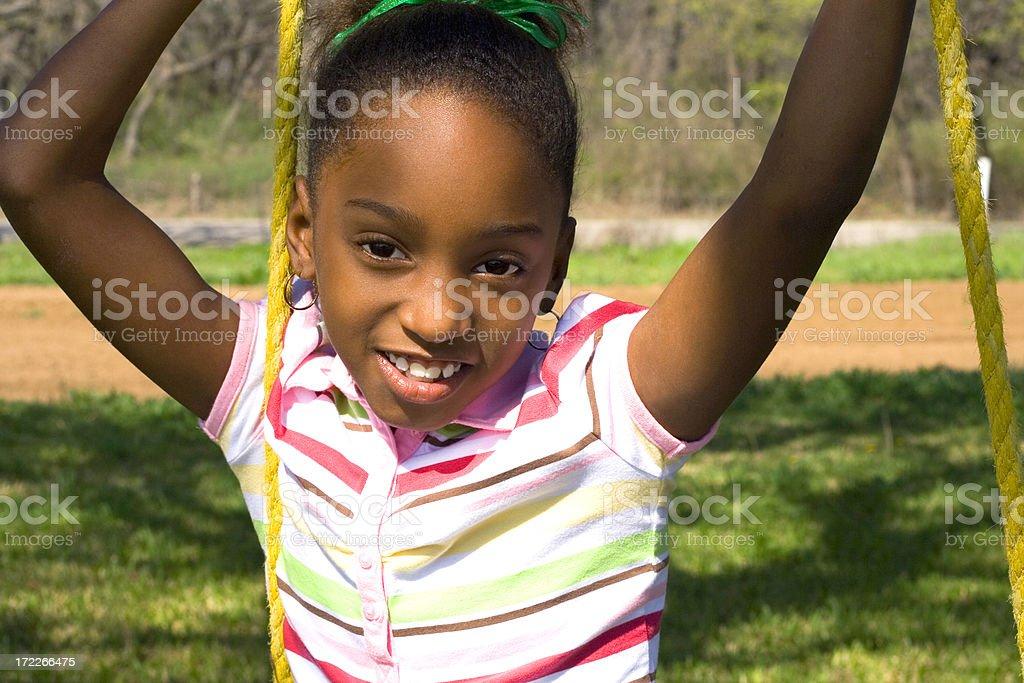 little girl on swing royalty-free stock photo