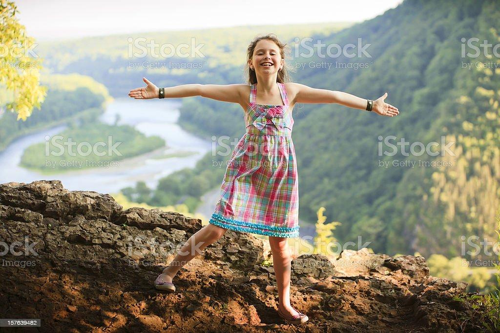 Little girl on the Delaware Water Gap stock photo