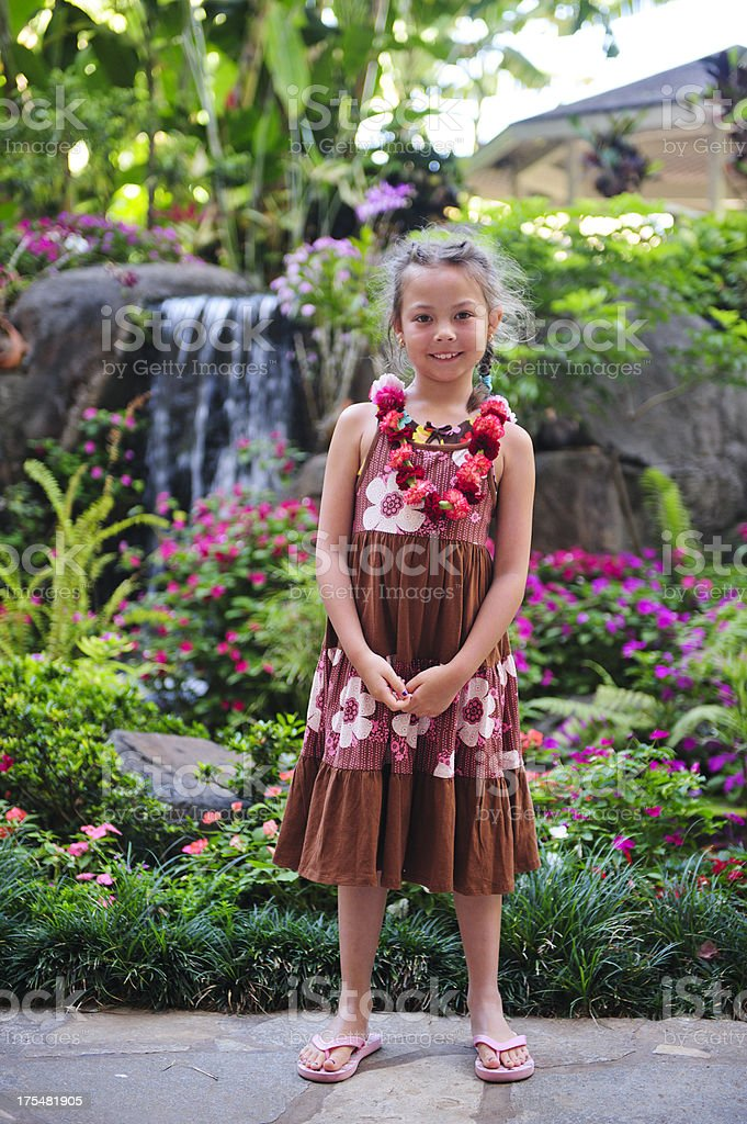 Little Girl on Tropical Vacation stock photo