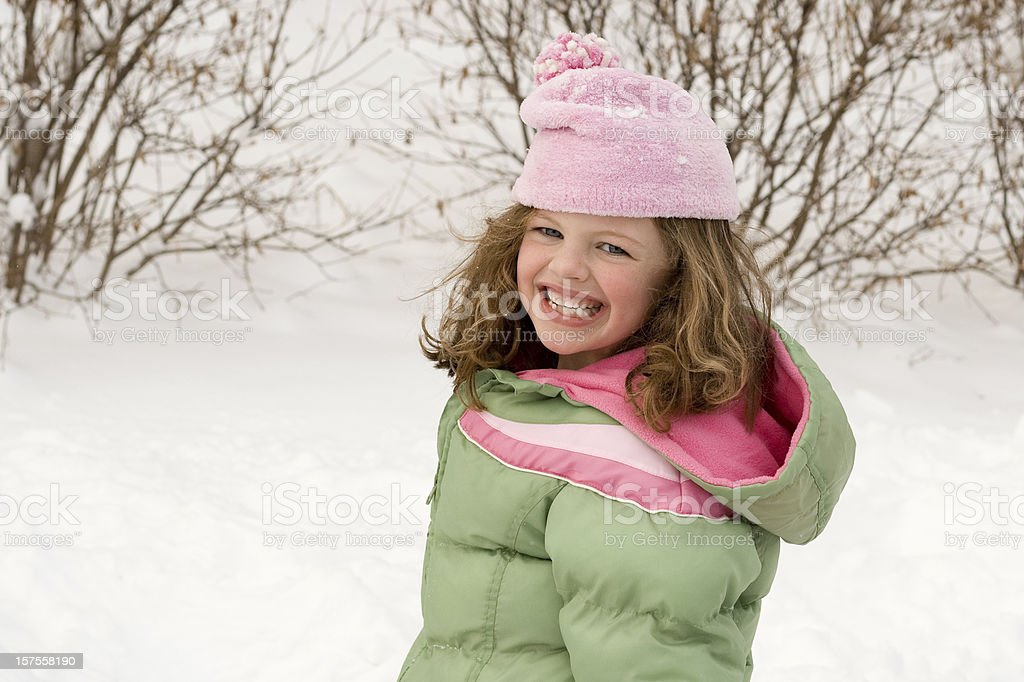 Little girl outdoors in winter royalty-free stock photo