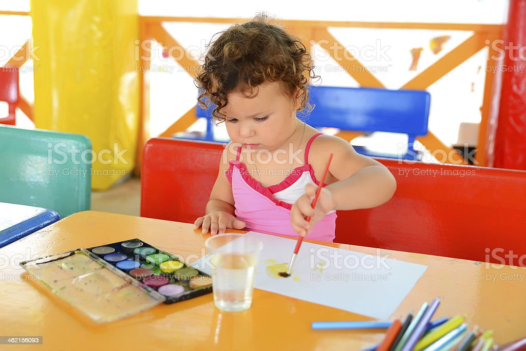 Little girl painted stock photo