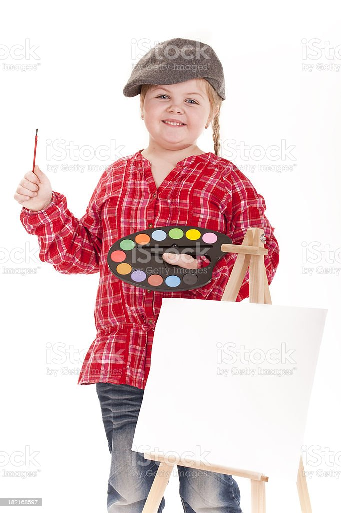 little girl painting artist royalty-free stock photo
