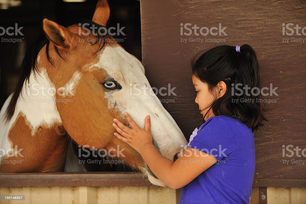 Little girl petting her horse royalty-free stock photo