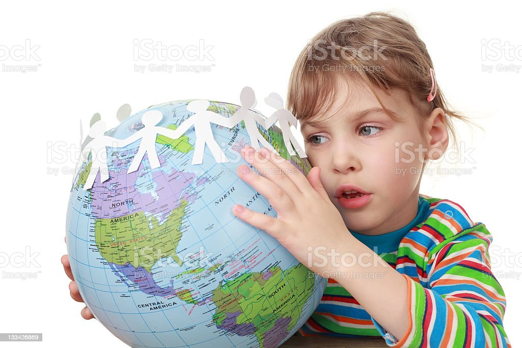 Little girl play with garland of paper creatures and globe royalty-free stock photo