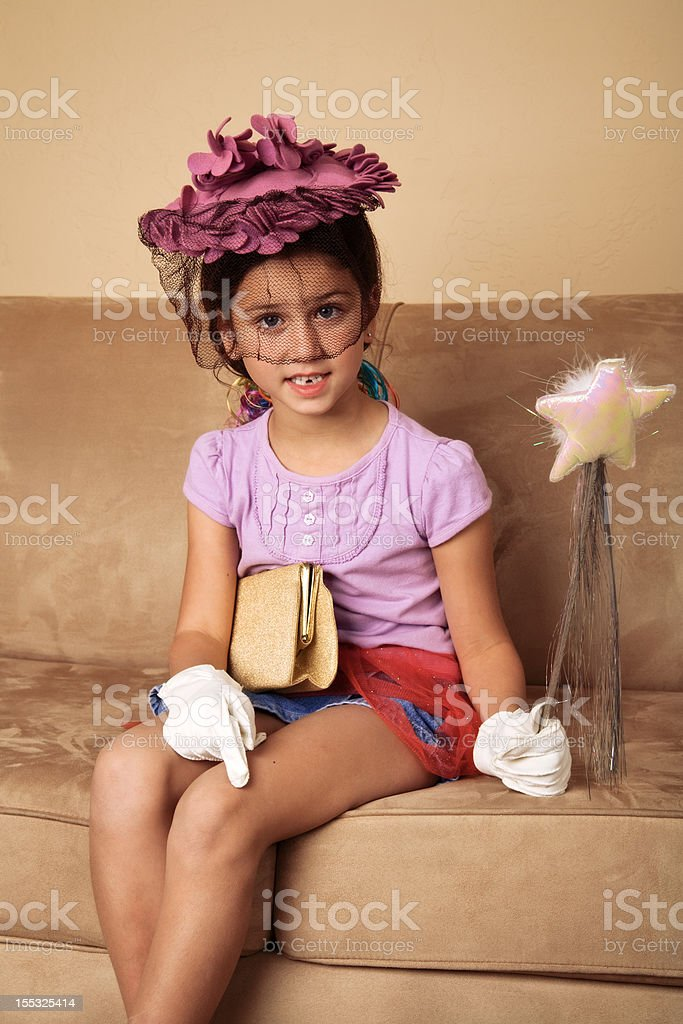 Little Girl Playing Dress Up royalty-free stock photo