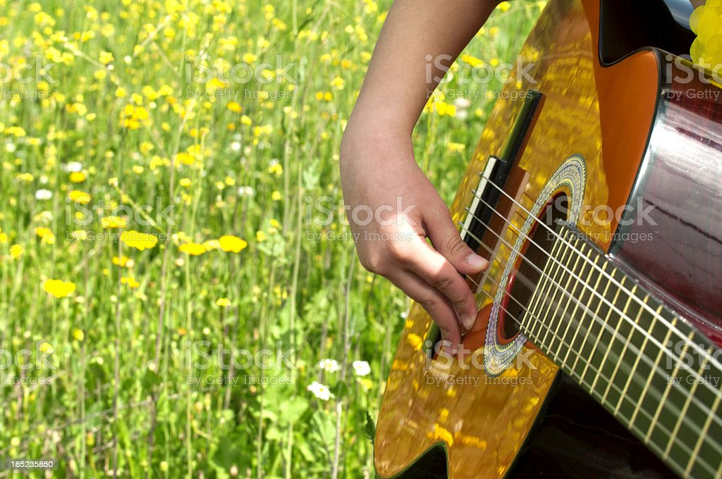 Little girl playing guitar to daisy field royalty-free stock photo