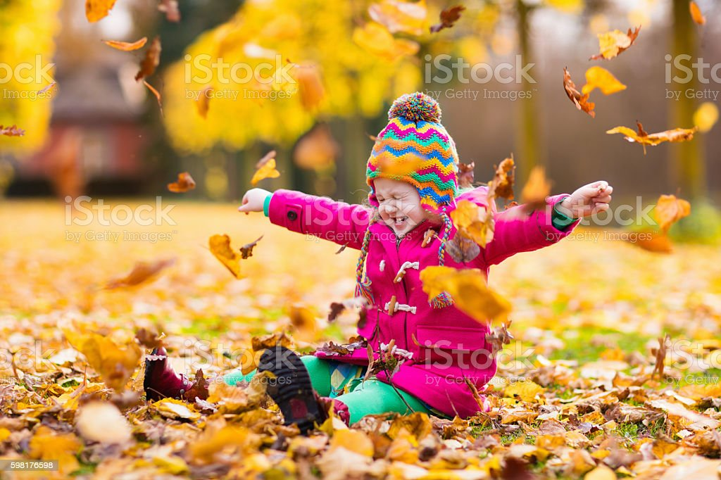 Little girl playing in autumn park with golden maple leaves stock photo