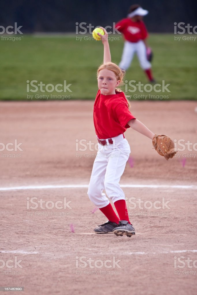 Little Girl Playing Softball royalty-free stock photo