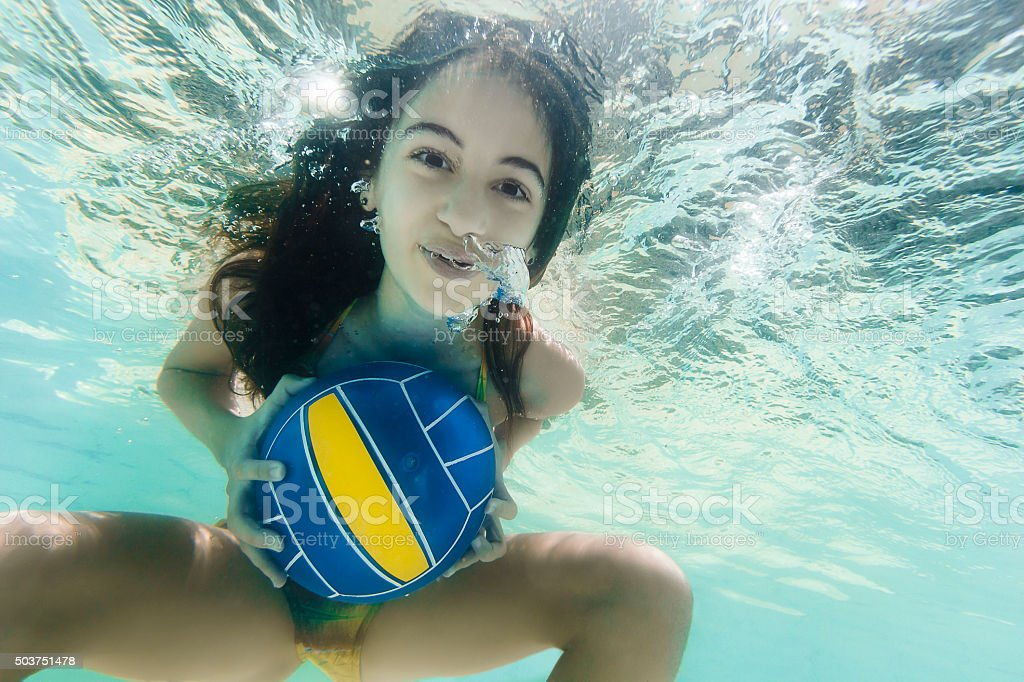 Little Girl Playing with Ball Underwater stock photo