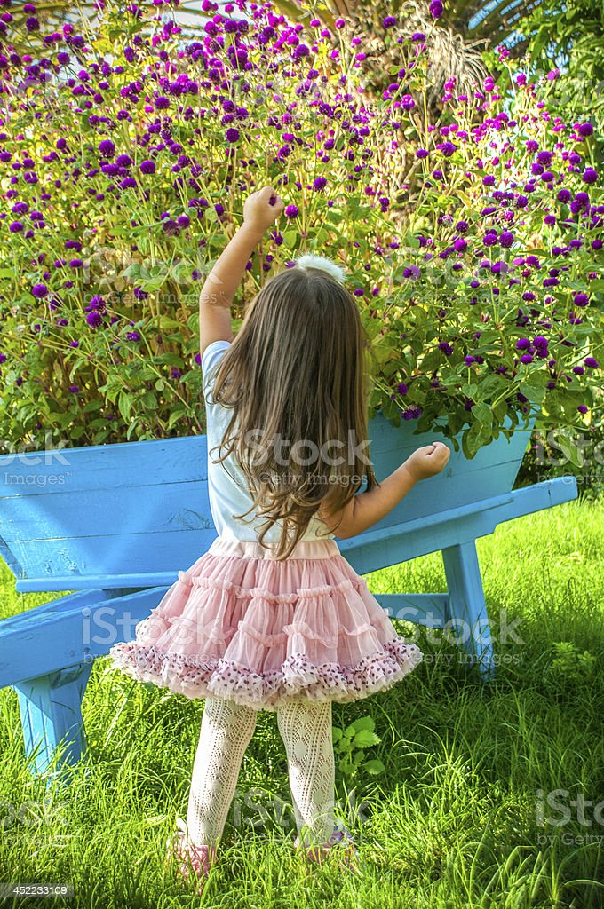 Little girl playing with flowers royalty-free stock photo