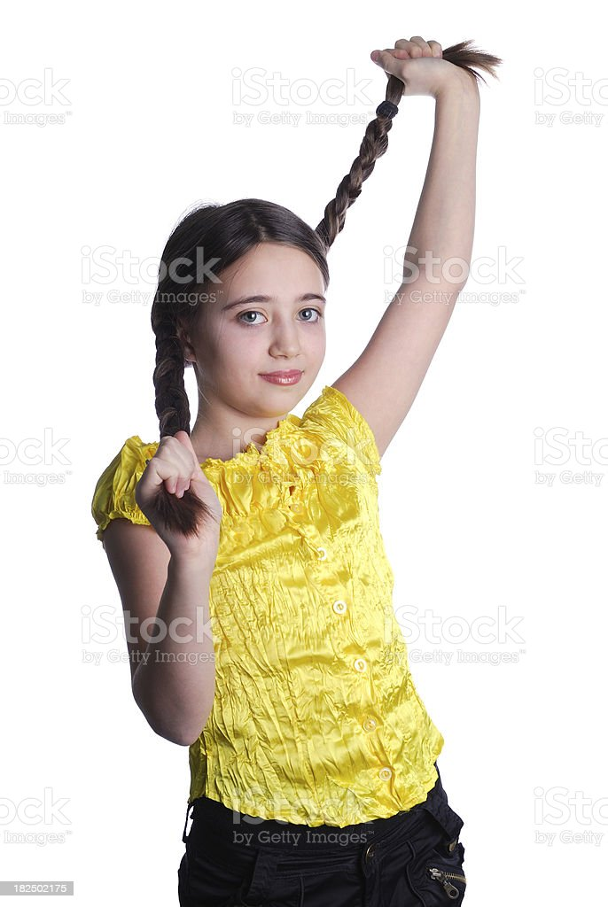 Little Girl Playing With Her Braids royalty-free stock photo