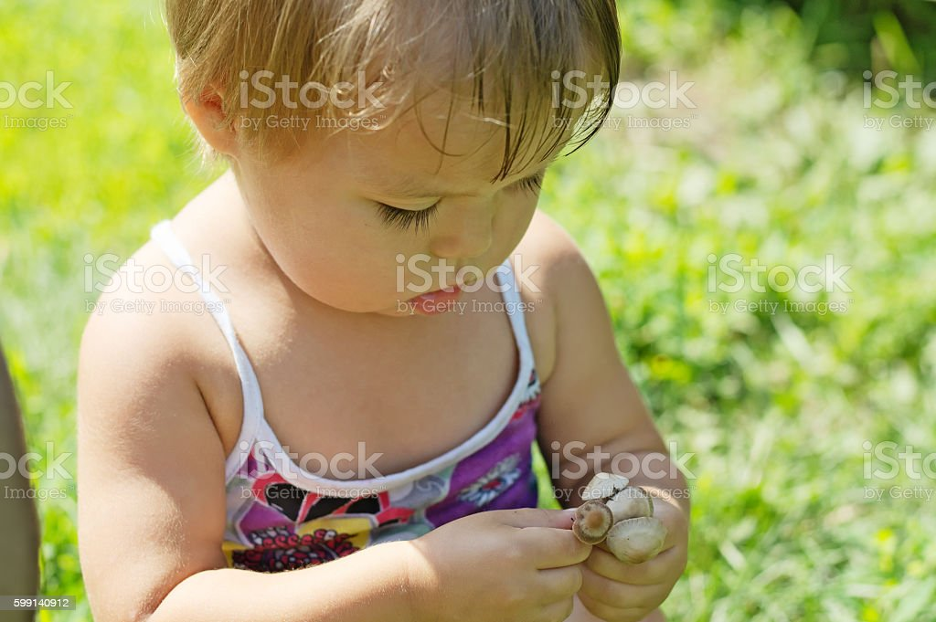 Little girl playing with toxic toadstool mushrooms stock photo