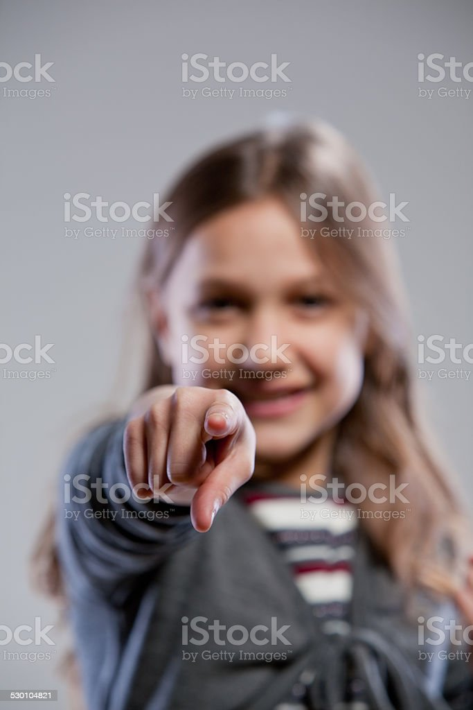 little girl point ing out her finger stock photo
