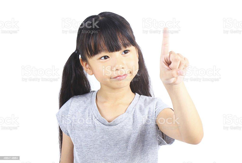 Kleines Mädchen zeigen mit Ihrem finger Lizenzfreies stock-foto