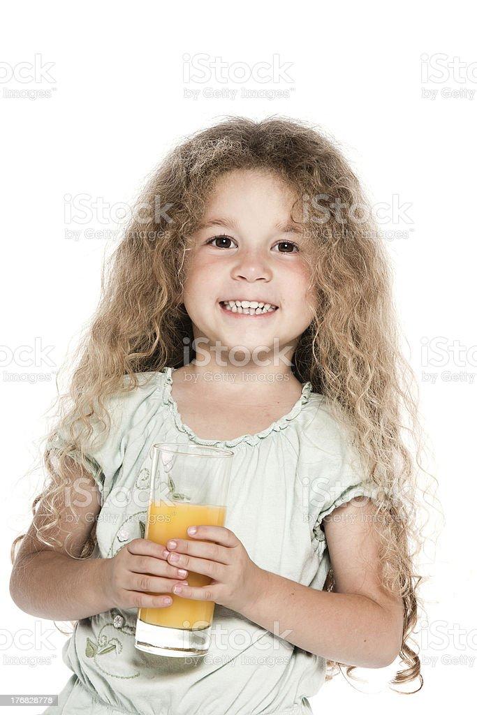 Little girl portrait hold orange juice stock photo