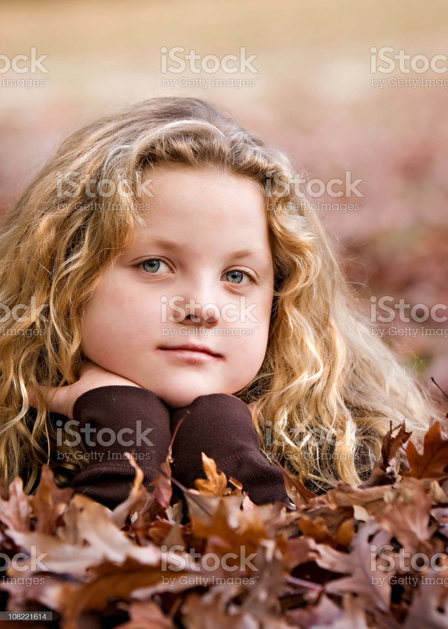 Little Girl Posing in Autumn Leaves royalty-free stock photo