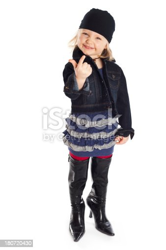 Little Girl Posing In High Heeled Boots stock photo 180720430 | iStock