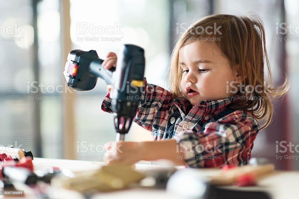 Little Girl Power stock photo