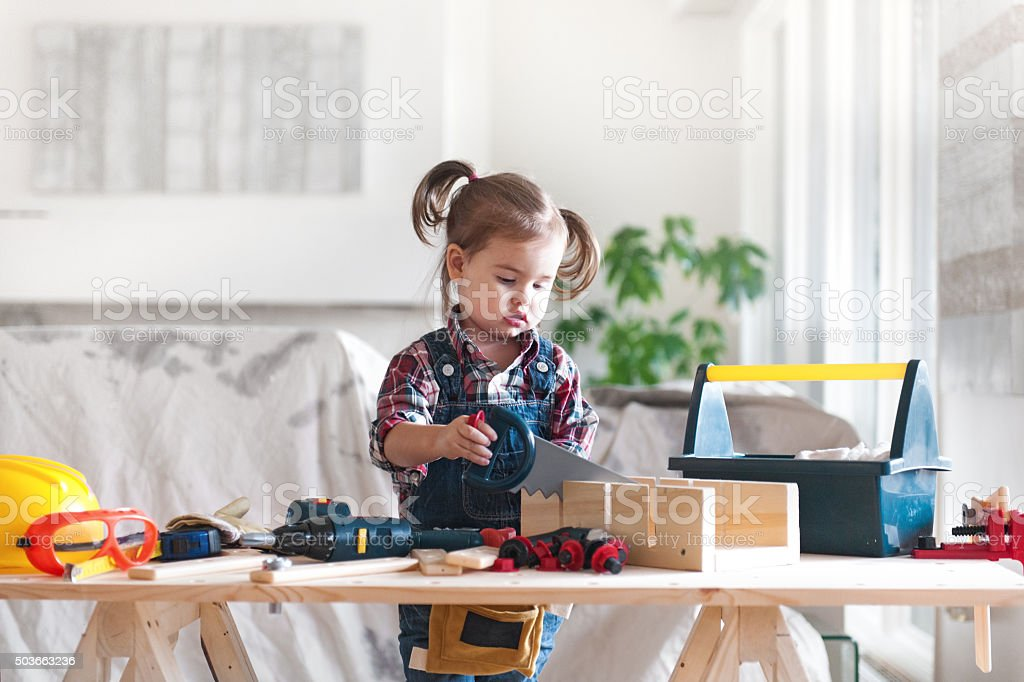 Little Girl Power stock photo