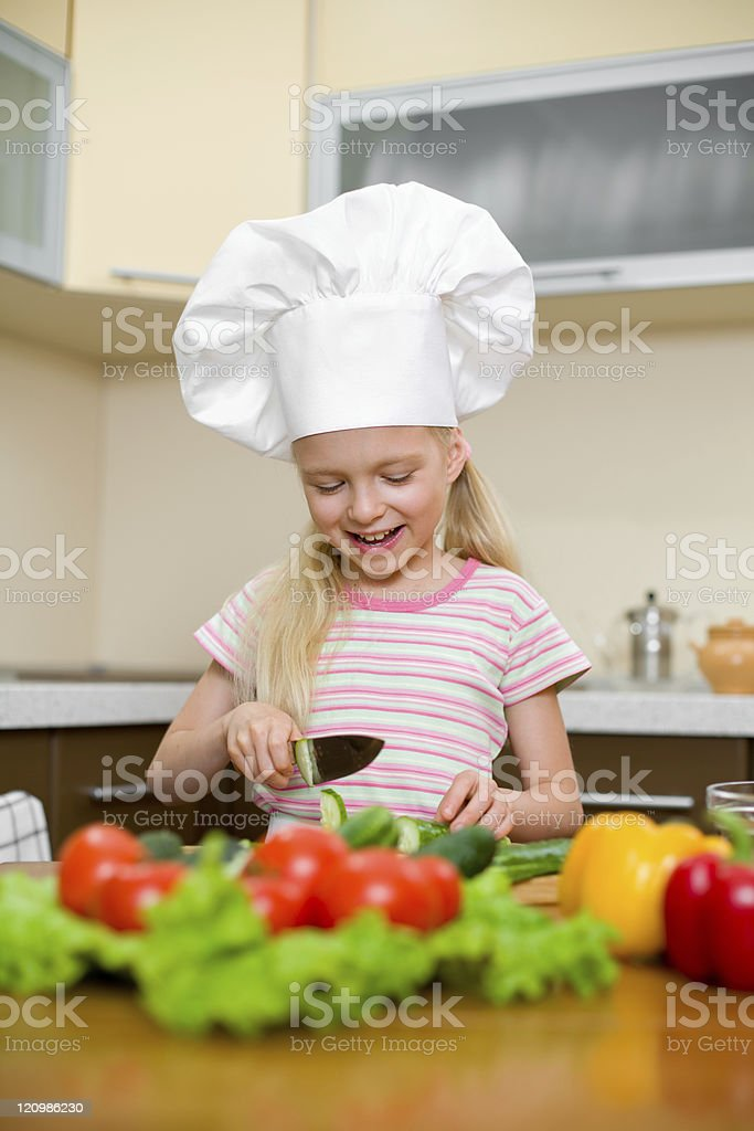 Little girl preparing healthy food on kitchen royalty-free stock photo