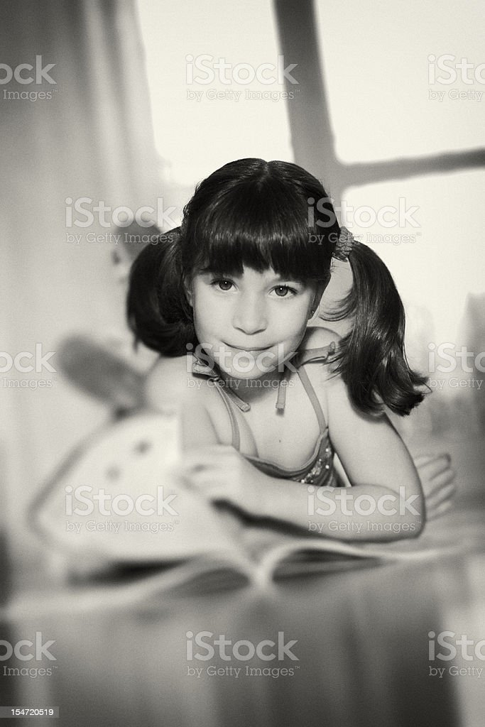 Little Girl Reading Book, royalty-free stock photo