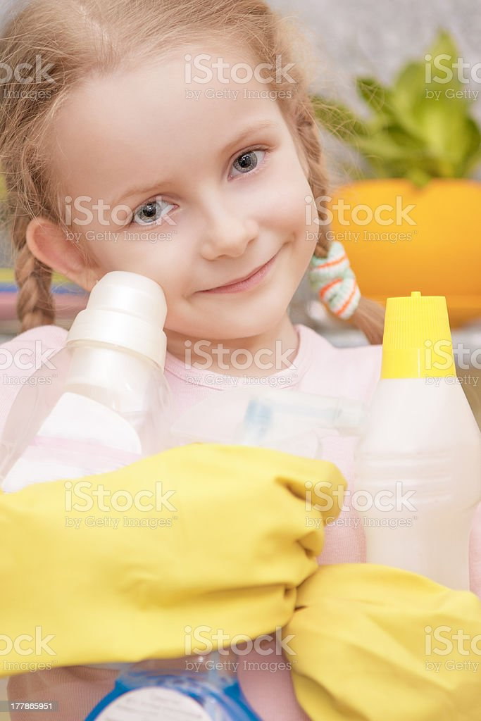 little girl ready to help royalty-free stock photo