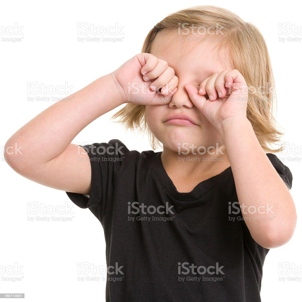Little Girl Rubbing Eyes stock photo