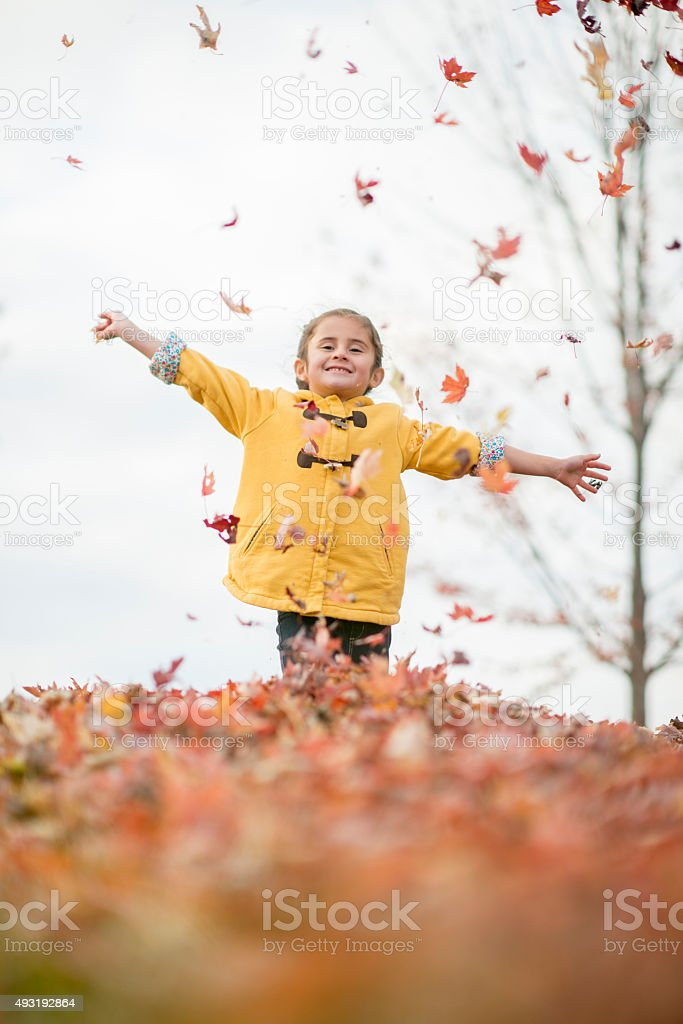 Little Girl Running in Falling Leaves stock photo