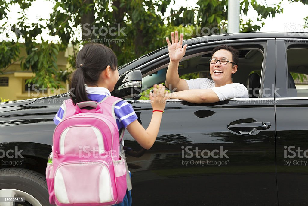 little girl say good bye with father royalty-free stock photo