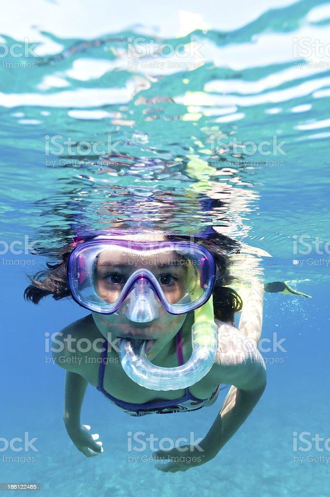 Little girl scuba diving in pool stock photo