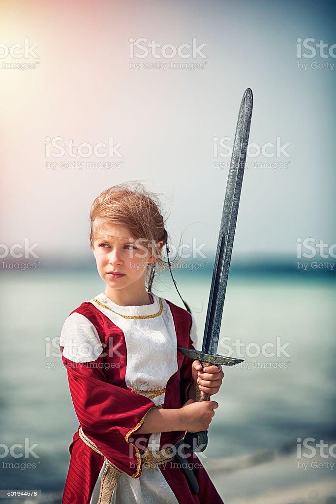 Little girl shieldmaiden stock photo