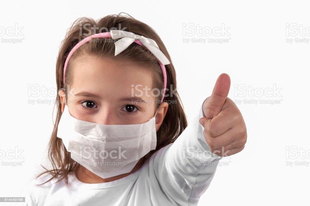 Little girl sick stock photo