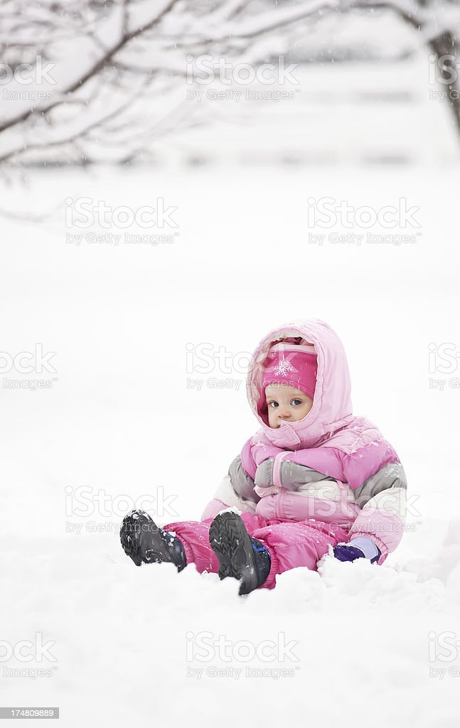 Little Girl Sitting in Snow royalty-free stock photo