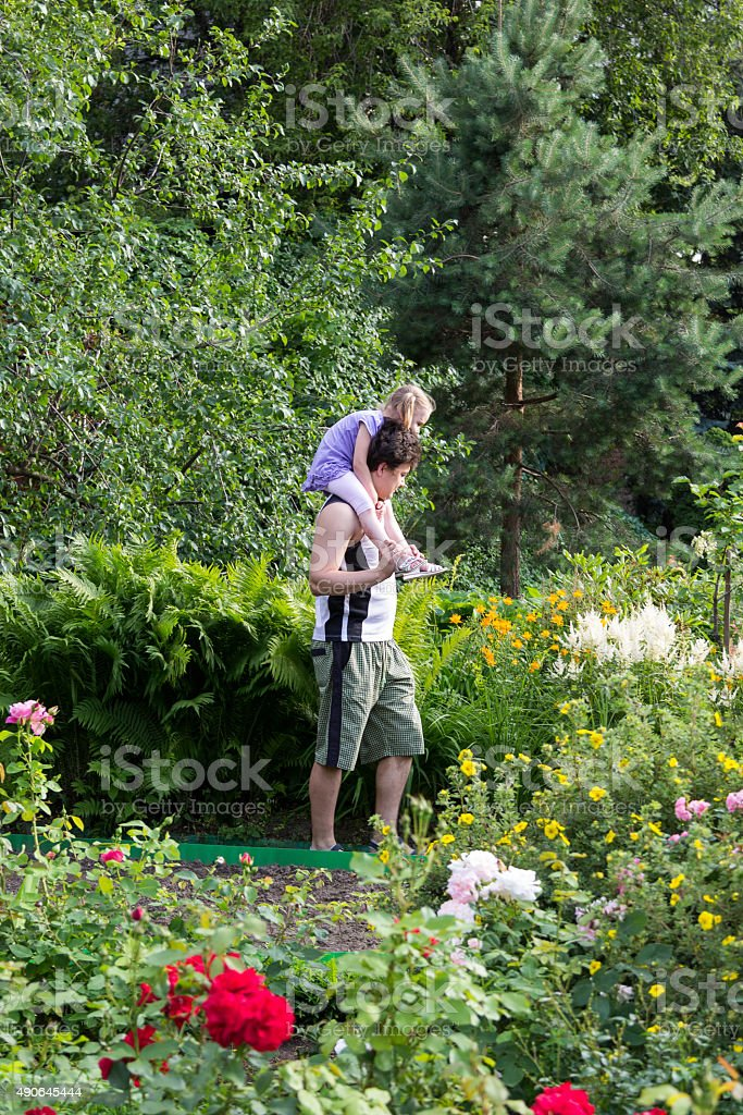 little girl sitting on the daddy shoulders among flowers stock photo