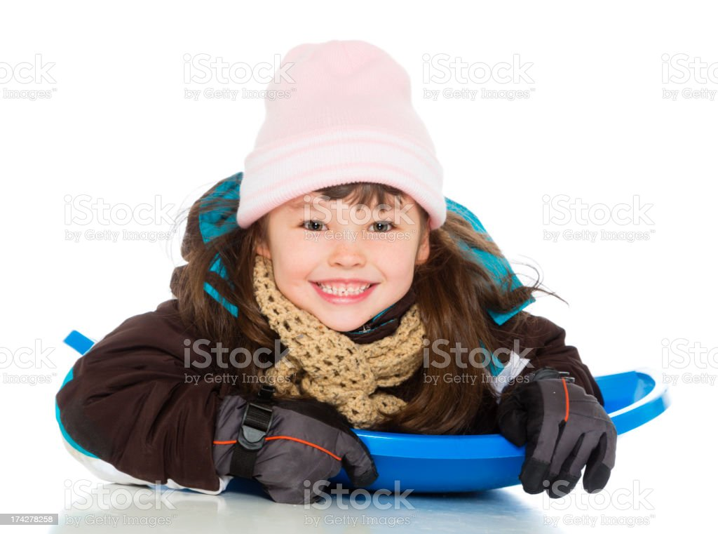 Little Girl Sledding royalty-free stock photo