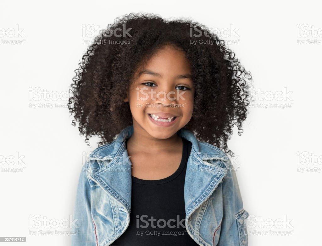 Little Girl Smiling Happiness Studio Portrait stock photo
