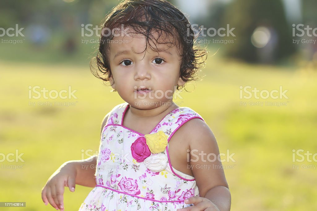 Little Girl Smiling Outdoor royalty-free stock photo