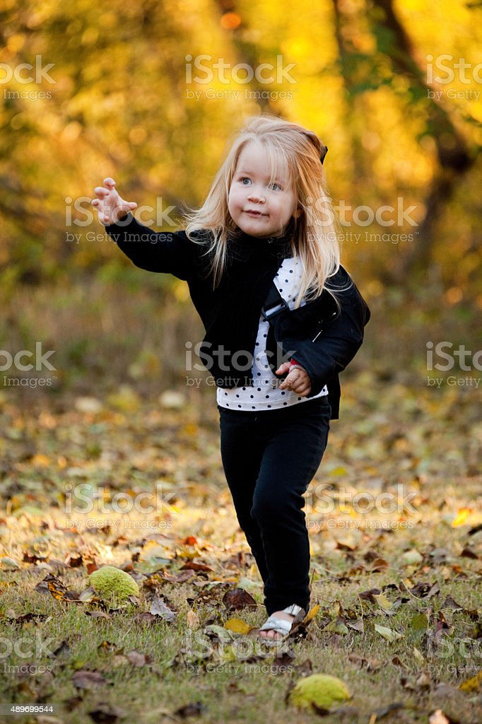 Little Girl Smiling Outdoors with Autumn Colors stock photo